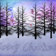 Christmas Bare Trees Poster