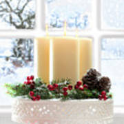 Christmas Candles Display Poster by Amanda Elwell