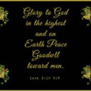 Christmas Card With Scripture - Luke 2 14 Poster