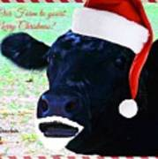 Christmas Cow Greeting Poster
