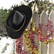 Christmas Cowboy Hat On Fence - Merry Christmas  Poster