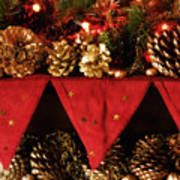 Christmas Decorations Of Garlands And Pine Cones Poster