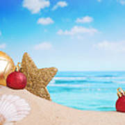 Christmas Decorations On The Beach Poster