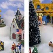 Christmas Display - Gently Cross Your Eyes And Focus On The Middle Image Poster