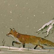 Christmas Fox Snow Poster