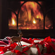 Christmas Gifts By The Fireplace Poster