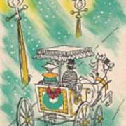 Christmas Illustration 1218 - Vintage Christmas Cards - Horse Drawn Carriage Poster