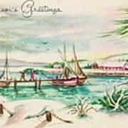 Christmas Illustration 1220 - Vintage Christmas Cards - Landscape Painting Poster