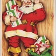 Christmas Illustration 1230 - Vintage Christmas Cards - Santa Claus With Christmas Gifts Poster