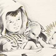 Christmas Illustration 1248 - Vintage Christmas Cards - Infant Jesus On Crib Poster