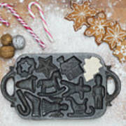 Christmas Interior With Sweets And Vintage Kitchen Tools Poster