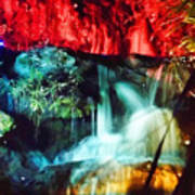 Christmas Lights At The Waterfall Poster