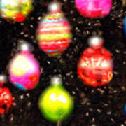 Christmas Ornaments Abstract One Poster