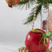 Christmas Tree Branch And Decoration In A Vase Poster