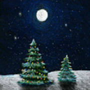 Christmas Trees In The Moonlight Poster