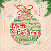 Christmas Words Ornament Poster