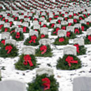 Christmas Wreaths Adorn Headstones Poster