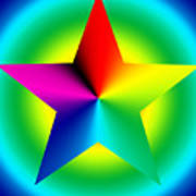 Chromatic Star With Ring Gradient Poster by Eric Edelman