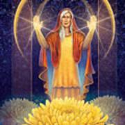 Chrysanthemum - Light In The Darkness Poster by Anne Wertheim
