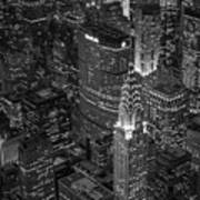 Chrysler Building Aerial View Bw Poster