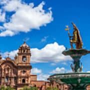 Church And Fountain In Cusco Peru Poster