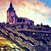 Church Dominant With Decorative Historical Staircase, Graphic Work From Painting. Poster