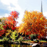 Church In The Distance In Autumn Poster