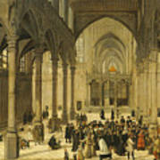 Church Interior With Christ Preaching To A Congregation, 1570 Poster