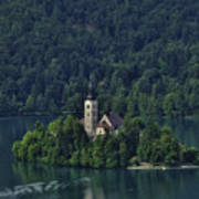 Church Of Mary On Bled Island Poster
