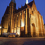 Church Of The Holy Cross By Night In Wroclaw Poster