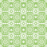 Cilantro- Green And White Art By Linda Woods Poster