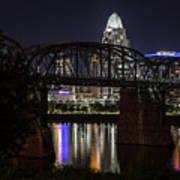Cincinnati Bridge At Night  Poster