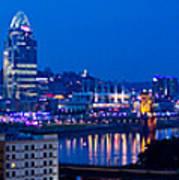 Cincinnati Skyline At Night Poster