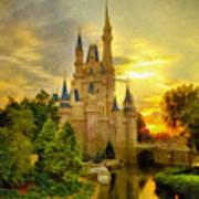 Cinderella Castle - Monet Style Poster