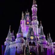 Cinderellas Castle At Night Poster by Carmen Del Valle