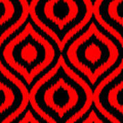 Circle And Oval Ikat In Black T02-p0100 Poster