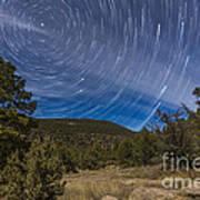 Circumpolar Star Trails Over The Gila Poster