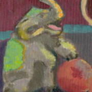 Circus Elephant With Ball Poster