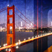 City Art Golden Gate Bridge Composing Poster