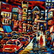 City At Night Downtown Montreal Poster