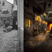 City - Germany - Alley - Coming Home Late 1904 - Side By Side Poster