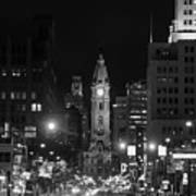 City Hall - Black And White At Night Poster