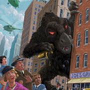 City Invasion Furry Monster Poster