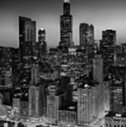 City Light Chicago B W Poster
