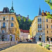 City Of Ljubljana View From Tromostovje Bridge Poster