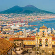 City Of Naples With Mt. Vesuvius Poster