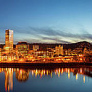 City Of Portland Skyline Blue Hour Panorama Poster