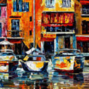 City Pier - Palette Knife Oil Painting On Canvas By Leonid Afremov Poster