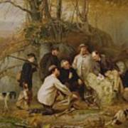 Claiming The Shot - After The Hunt In The Adirondacks Poster by John George Brown
