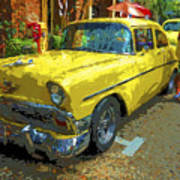 Classic 56 Chevy Car Yellow  Poster